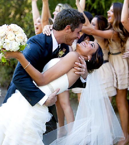 Dave Annable and Odette Annable on the wedding day