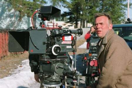 Photo of Marc Evans on the set while directing