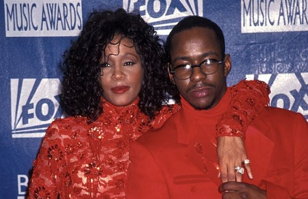 Bobby and his ex-wife Whitney Houston on awards show