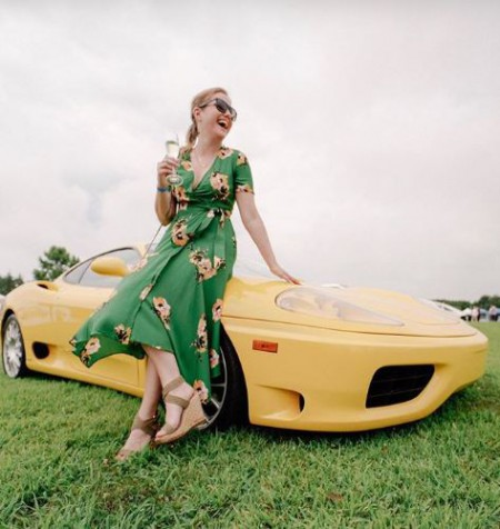 Jaymee Sire with her yellow colored car