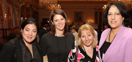 Jay Newton-Small with her friends, Kasie Hunt, Emily Goodin, and Tammy Haddad at Fortune Most Powerful Women Dinner at U.S. Department of State's Benjamin Franklin Diplomatic Room on 30th April 2012 in Washington D.C.