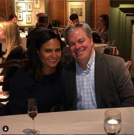 Kristen Welker and John Hughes enjoying a dinner at a restaurant