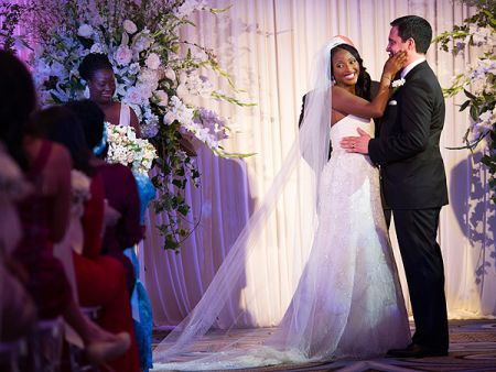 Leif Coorlim with his bride, Isha Sesay