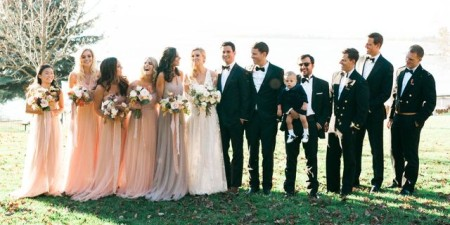 Evan Morgan and Mary Anne Huntsman with their wedding guests
