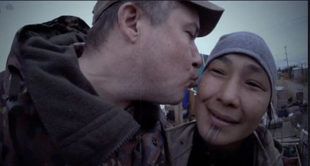 Chip Hailstone kissing his wife Agnes Hailstone on the cheek during the Life Below Zero show