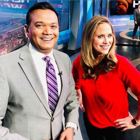 Erika Erickson with her colleague Roop at Fox 2 Detroit office