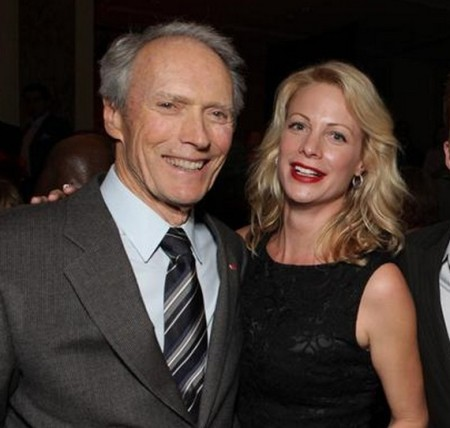 Clint Eastwood with flight attendant, Jacelyn Reeves