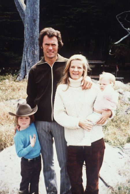 Maggie Johnson and her husband, Clint Eastwood with their children