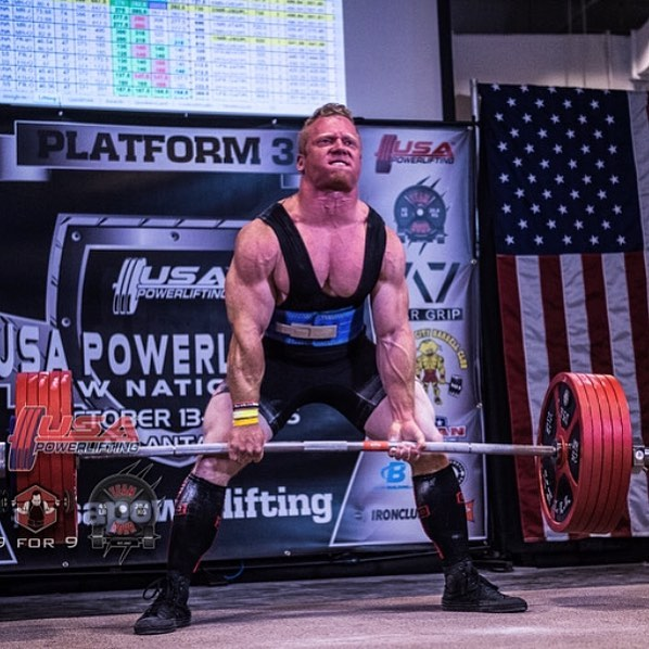 Deuce competing in powerlifting championship