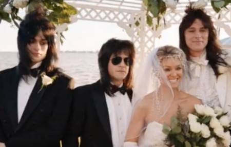 Emi Canyn and Mick Mars with Motley Crue band members at their wedding
