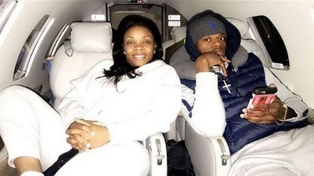 Lamar Jackson with his mother Felicia Jones in his private jet