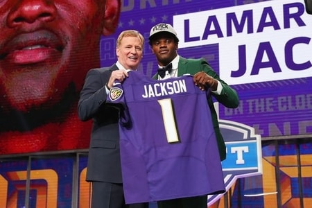 Lamar Jackson signing with Baltimore Ravens in the 2018 NFL Draft