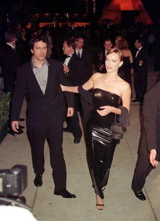 Charlize posing with her first partner Stephan Jenkins