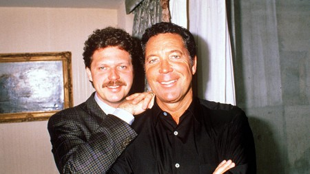 Tom Jones with his son, Mark Woodward