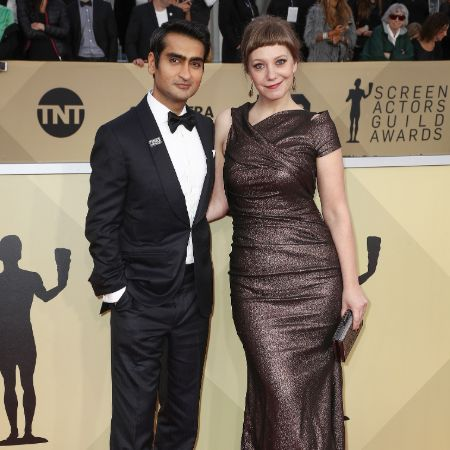 Nanjiani and his wife in their matching dress