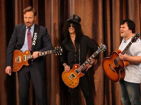 Image: Conan plays guitar alongside with slash and Jack Black. Source: flickr