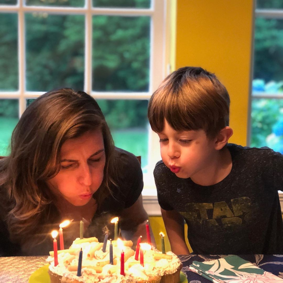 Shannon and her son celebrating her birthday
