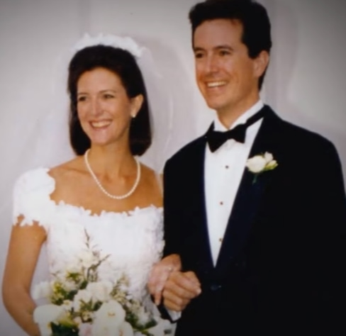 Stephen Colbert and Evelyn McGee at their wedding ceremony