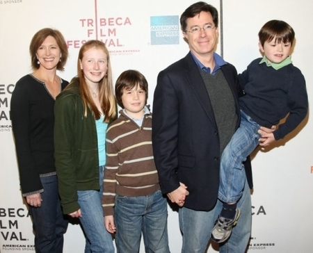 Stephen Colbert and Evelyn McGee with their three children at Tribeca Film Festival