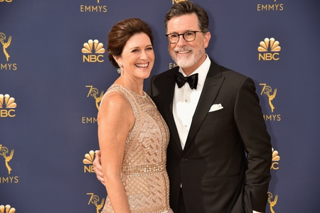 Stephen Colbert and Evelyn McGee at Emmy Award event