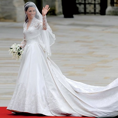 Kate Middleton in her amazing gown made by Sarah Burton