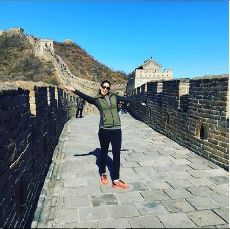 Celicia Vega enjoying her holiday at the Great Wall of China