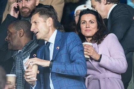 Susanna Reid with Steve Parish at the premier league match of Crystal Palace