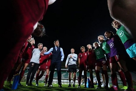 Phil Neville with England women's team