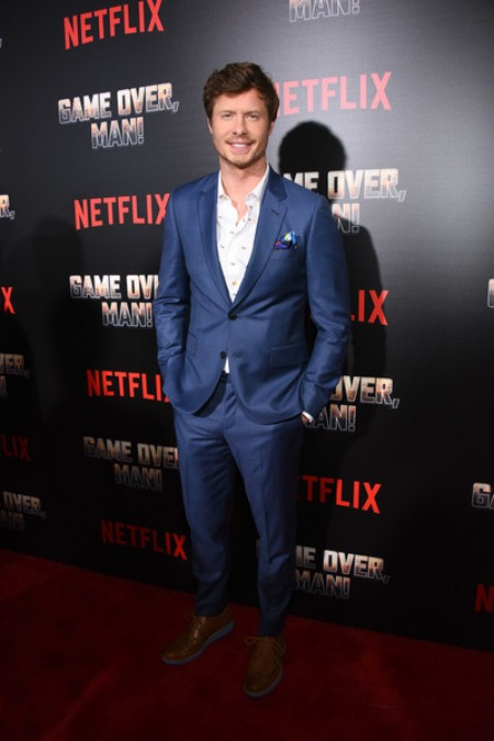 Anders Holm arrived at the premiere of Netflix's Game Over, Man!