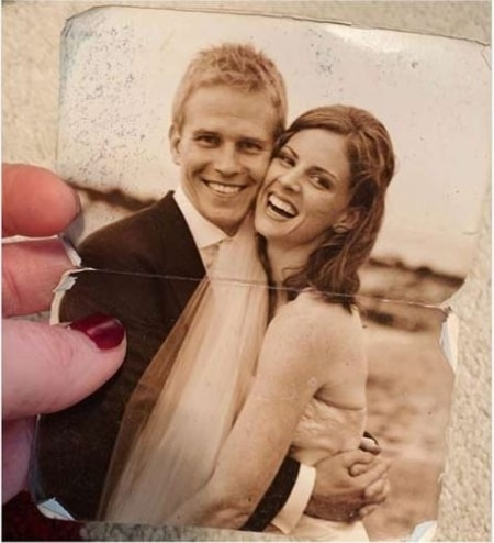 Sarah Rafferty and Santtu Seppala in an old wedding picture posted by Sarah