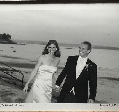 Sarah Rafferty and Santtu Seppala at their wedding day at Island Club. The old photo is posted by Sarah on her Instagram