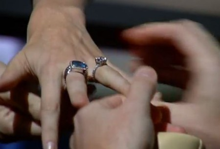Close-up shot of Courtney Reagan's engagement ring