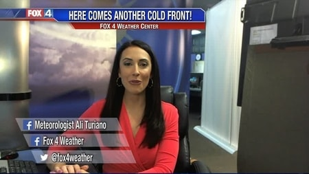 Ali Turiano reporting her weather news from Fox 4 News