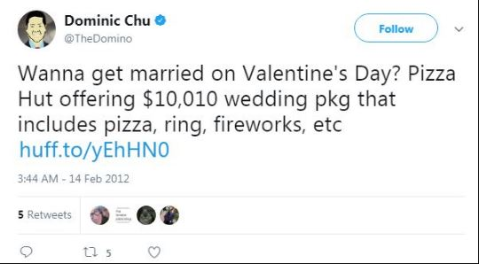 Tweets of Dominic Chu about him getting married on valentines day.