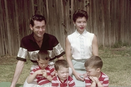 Johnny Carson with his former wife Jody Wolcott and three sons