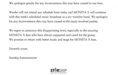 Starship Entertainment released a statement about Wonho's termination after allegations were made