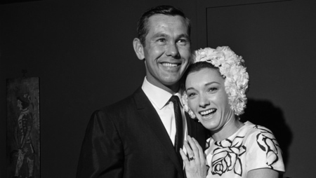 Johnny Carson with his ex-wife Joanne Copeland