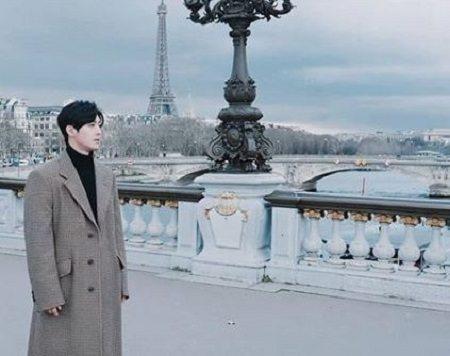 Kim during a video shoot in the Paris, France.