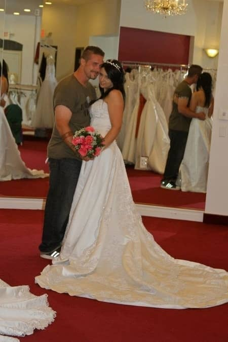 Kris Ford with his wife Stephanie Hayden before the wedding