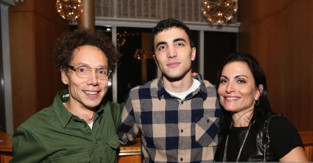 Esther Fein Remnick and her son, Noah Remnick with Malcolm Gladwell, a staff writer at The New Yorker