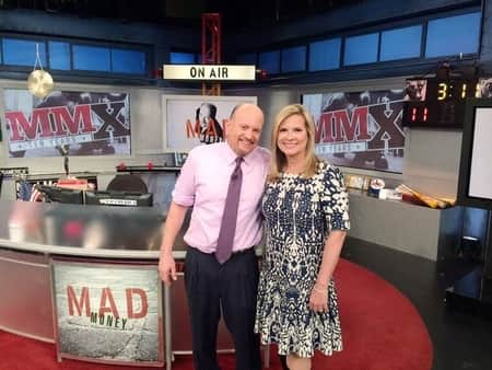 The best financial analyst, Jim Cramer with his wife Lisa Cadette on the set of Mad Money, a CNBC TV show