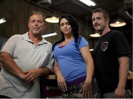 Stephanie with her father and her husband