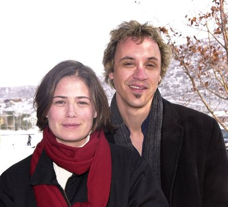 Maura and her ex-husband clicking picture together in snowy day
