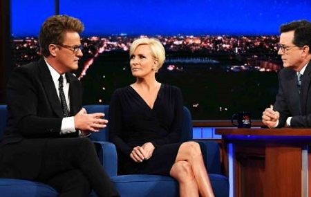 Joe Scarborough and his wife Mika Brzezinski in late night show