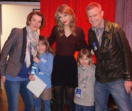 Jeremy Vine, Rachel Schofield with their children and Taylor Swift