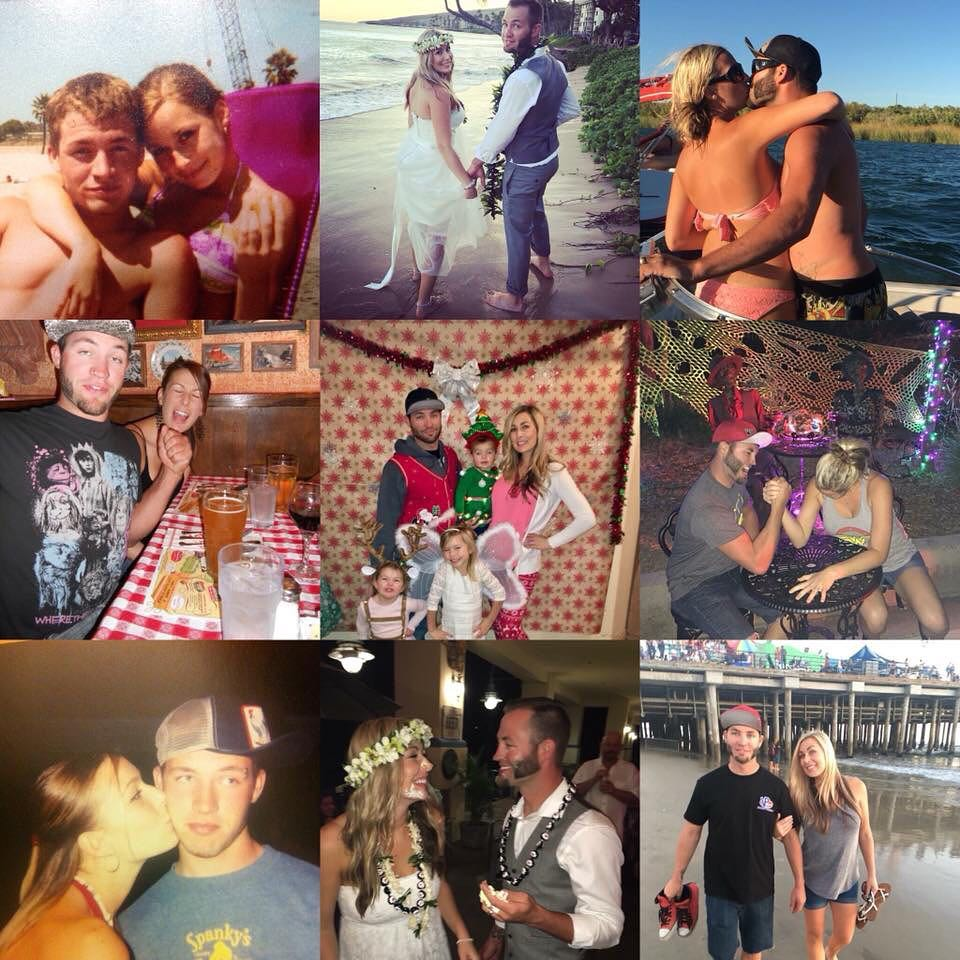 Justin and his wife pictures of their wedding and time together