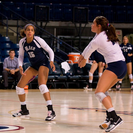 Riddlesprigger playing volleyball for the Rice University'