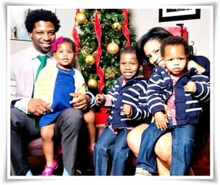 Uche Ojeh with his wife Sheinelle Marie Jones and children