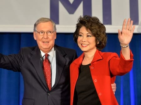 Elaine Chao with her spouse, Mitch, the longest-serving U.S. senator for Kentucky