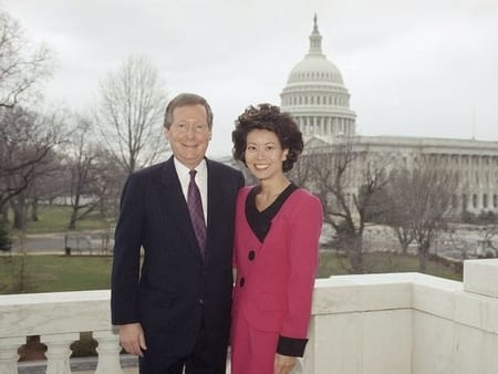 Elaine and Chao posing before their marriage in Chapel of the US Capitol ob Feb 6, 1993